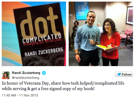 Randi Zuckerberg's self-promotional Veteran's Day-themed tweet.